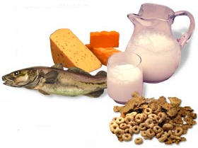 Algunos alimentos con vitamina d son salmon, yogurt, leche, atun y cereales